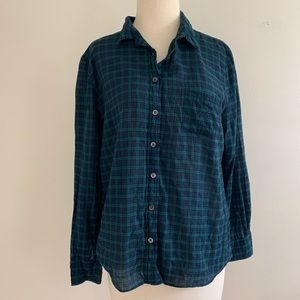 J. Crew boy fit blue/green plaid blouse 10P